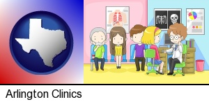 a clinic, showing a doctor and four patients in Arlington, TX