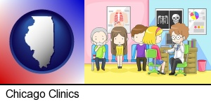 Chicago, Illinois - a clinic, showing a doctor and four patients