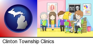 Clinton Township, Michigan - a clinic, showing a doctor and four patients