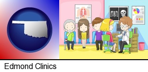 Edmond, Oklahoma - a clinic, showing a doctor and four patients