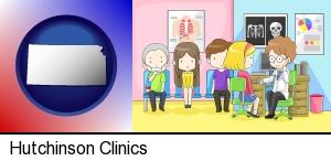 Hutchinson, Kansas - a clinic, showing a doctor and four patients