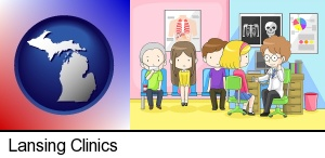 Lansing, Michigan - a clinic, showing a doctor and four patients
