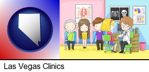 Las Vegas, Nevada - a clinic, showing a doctor and four patients