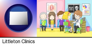 Littleton, Colorado - a clinic, showing a doctor and four patients