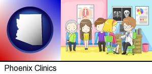 Phoenix, Arizona - a clinic, showing a doctor and four patients
