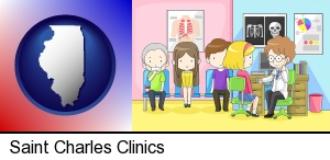 Saint Charles, Illinois - a clinic, showing a doctor and four patients