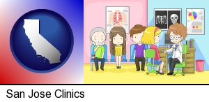 San Jose, California - a clinic, showing a doctor and four patients