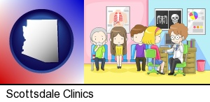 Scottsdale, Arizona - a clinic, showing a doctor and four patients