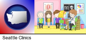 a clinic, showing a doctor and four patients in Seattle, WA