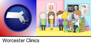 Worcester, Massachusetts - a clinic, showing a doctor and four patients