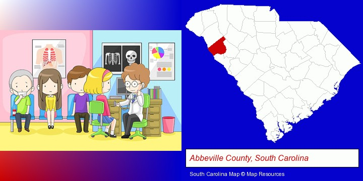 a clinic, showing a doctor and four patients; Abbeville County, South Carolina highlighted in red on a map