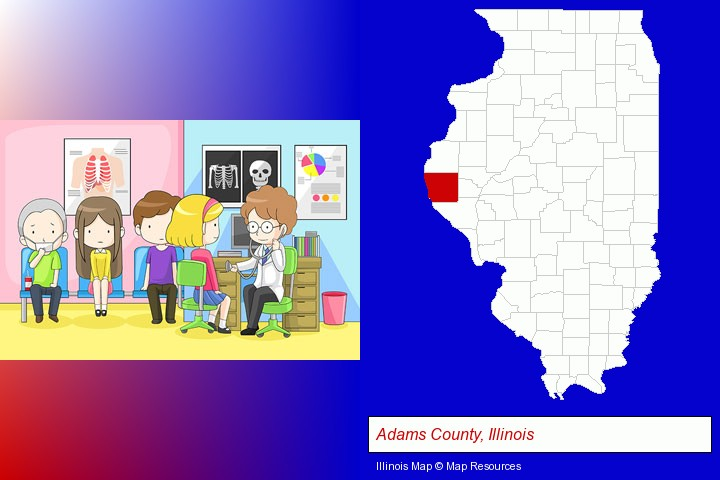 a clinic, showing a doctor and four patients; Adams County, Illinois highlighted in red on a map
