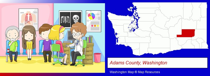 a clinic, showing a doctor and four patients; Adams County, Washington highlighted in red on a map
