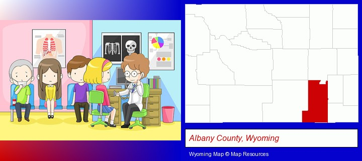 a clinic, showing a doctor and four patients; Albany County, Wyoming highlighted in red on a map