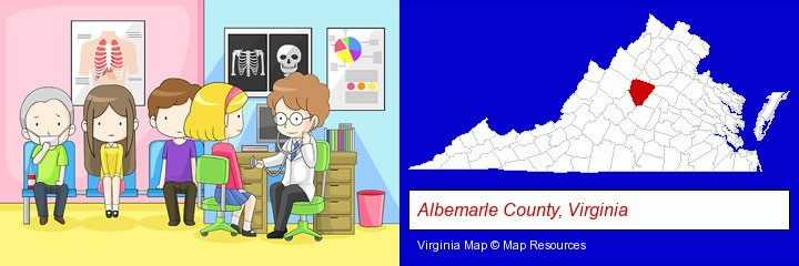 a clinic, showing a doctor and four patients; Albemarle County, Virginia highlighted in red on a map