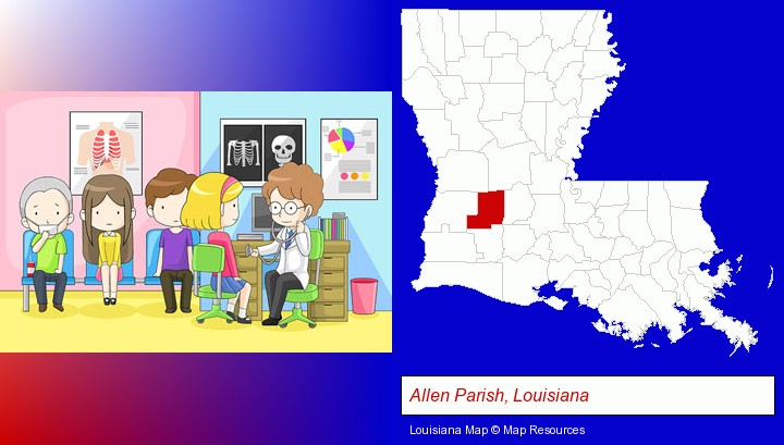 a clinic, showing a doctor and four patients; Allen Parish, Louisiana highlighted in red on a map