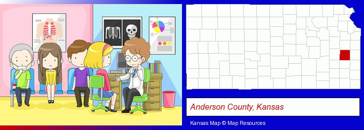 a clinic, showing a doctor and four patients; Anderson County, Kansas highlighted in red on a map