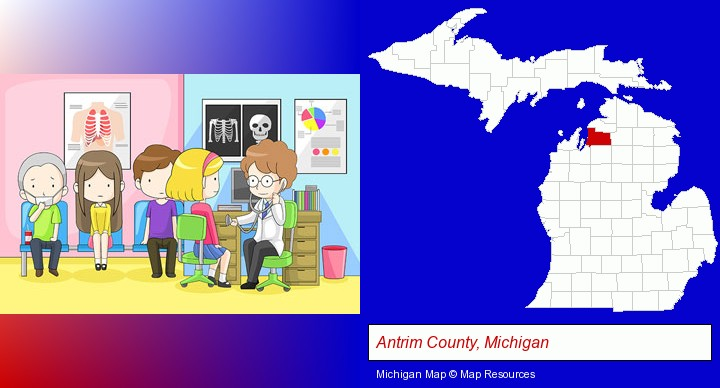 a clinic, showing a doctor and four patients; Antrim County, Michigan highlighted in red on a map