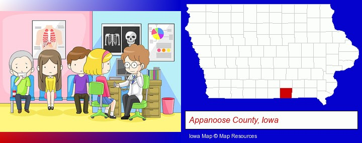 a clinic, showing a doctor and four patients; Appanoose County, Iowa highlighted in red on a map