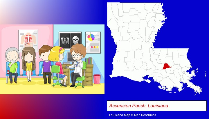 a clinic, showing a doctor and four patients; Ascension Parish, Louisiana highlighted in red on a map