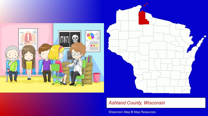 a clinic, showing a doctor and four patients; Ashland County, Wisconsin highlighted in red on a map