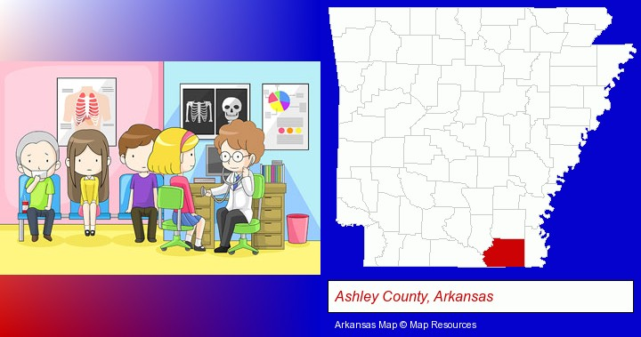 a clinic, showing a doctor and four patients; Ashley County, Arkansas highlighted in red on a map
