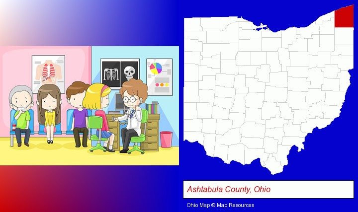 a clinic, showing a doctor and four patients; Ashtabula County, Ohio highlighted in red on a map