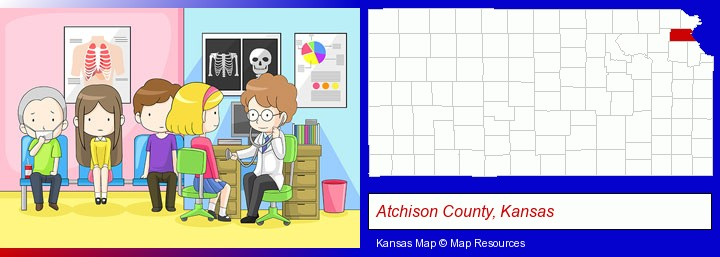 a clinic, showing a doctor and four patients; Atchison County, Kansas highlighted in red on a map
