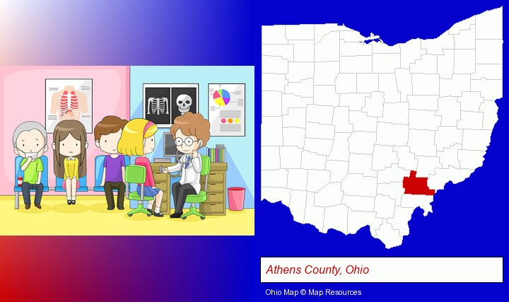 a clinic, showing a doctor and four patients; Athens County, Ohio highlighted in red on a map