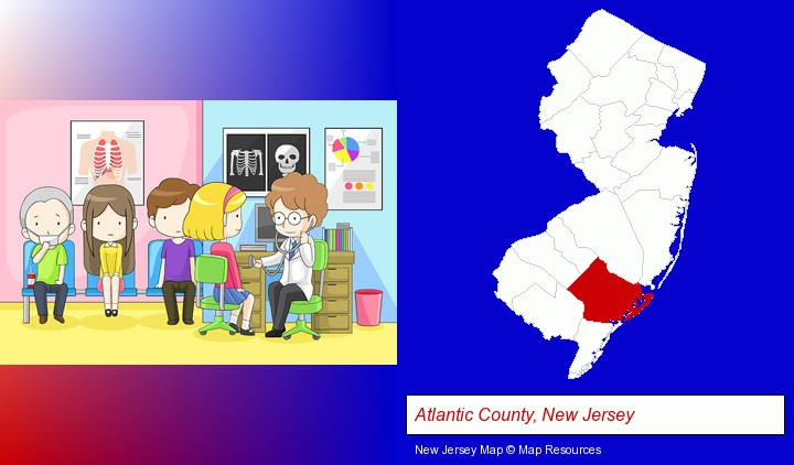 a clinic, showing a doctor and four patients; Atlantic County, New Jersey highlighted in red on a map