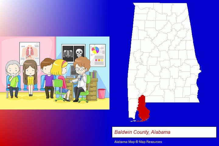a clinic, showing a doctor and four patients; Baldwin County, Alabama highlighted in red on a map