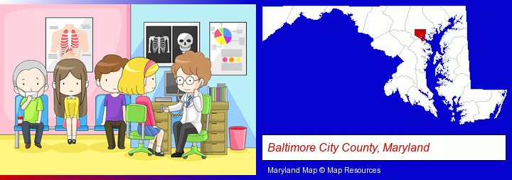a clinic, showing a doctor and four patients; Baltimore City County, Maryland highlighted in red on a map