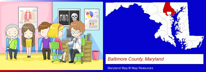 a clinic, showing a doctor and four patients; Baltimore County, Maryland highlighted in red on a map
