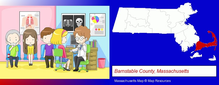 a clinic, showing a doctor and four patients; Barnstable County, Massachusetts highlighted in red on a map