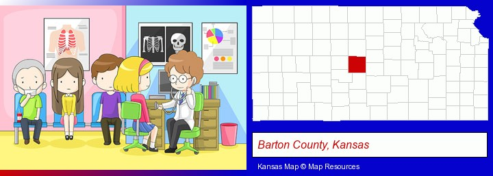 a clinic, showing a doctor and four patients; Barton County, Kansas highlighted in red on a map
