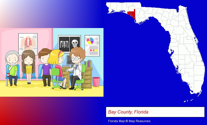 a clinic, showing a doctor and four patients; Bay County, Florida highlighted in red on a map