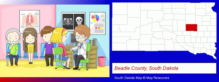 a clinic, showing a doctor and four patients; Beadle County, South Dakota highlighted in red on a map
