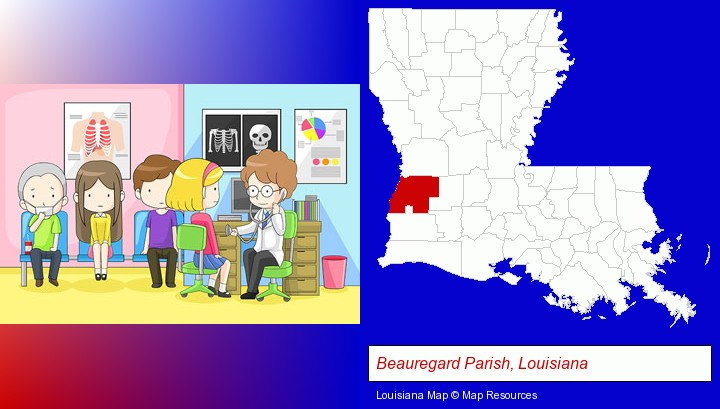 a clinic, showing a doctor and four patients; Beauregard Parish, Louisiana highlighted in red on a map