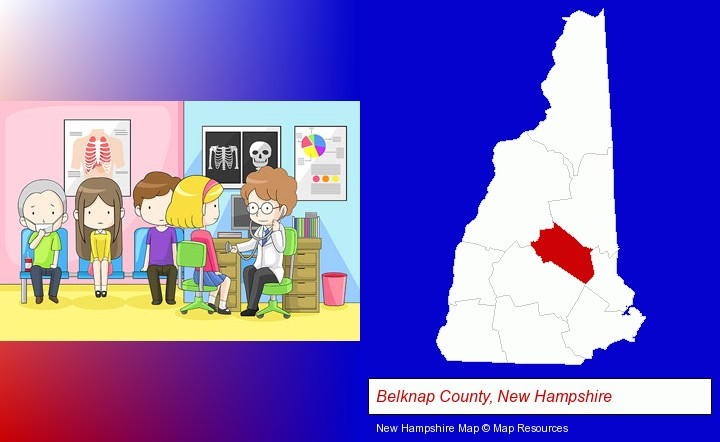a clinic, showing a doctor and four patients; Belknap County, New Hampshire highlighted in red on a map