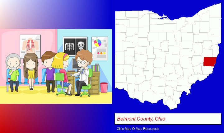 a clinic, showing a doctor and four patients; Belmont County, Ohio highlighted in red on a map
