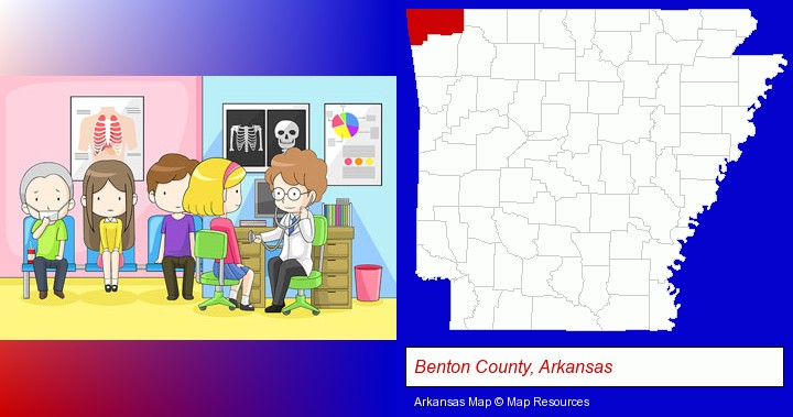 a clinic, showing a doctor and four patients; Benton County, Arkansas highlighted in red on a map