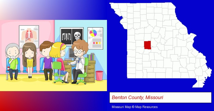 a clinic, showing a doctor and four patients; Benton County, Missouri highlighted in red on a map