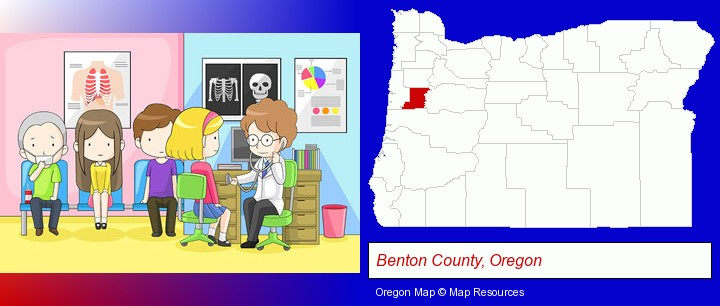 a clinic, showing a doctor and four patients; Benton County, Oregon highlighted in red on a map