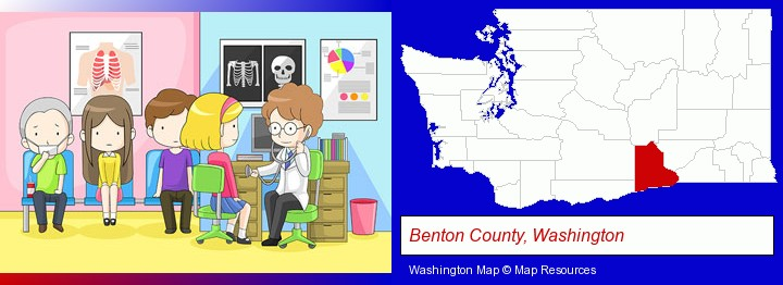 a clinic, showing a doctor and four patients; Benton County, Washington highlighted in red on a map