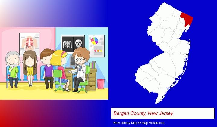 a clinic, showing a doctor and four patients; Bergen County, New Jersey highlighted in red on a map