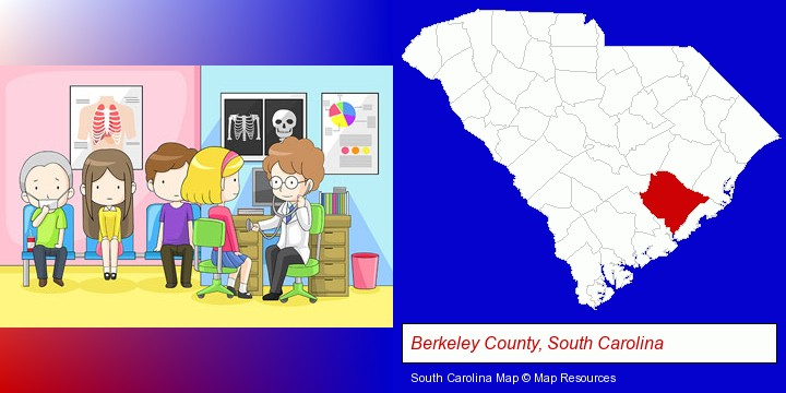 a clinic, showing a doctor and four patients; Berkeley County, South Carolina highlighted in red on a map