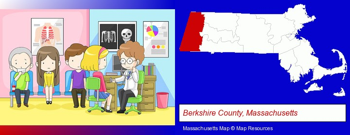 a clinic, showing a doctor and four patients; Berkshire County, Massachusetts highlighted in red on a map