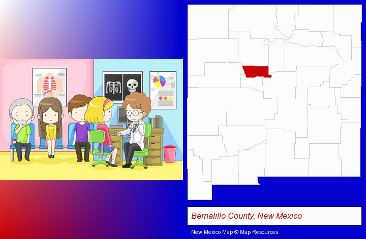 a clinic, showing a doctor and four patients; Bernalillo County, New Mexico highlighted in red on a map