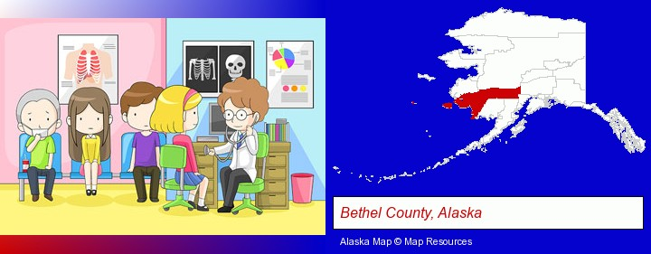 a clinic, showing a doctor and four patients; Bethel County, Alaska highlighted in red on a map