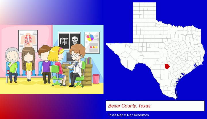 a clinic, showing a doctor and four patients; Bexar County, Texas highlighted in red on a map